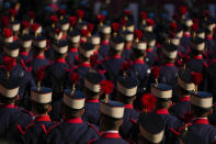 Royal Guards attend a military parade to celebrate 'Dia de la Hispanidad' or Hispanic Day, in Madrid, Spain, Tuesday, Oct. 12, 2021. Spain commemorates Christopher Columbus' arrival in the New World and also Spain's armed forces day. (AP Photo/Manu Fernandez)