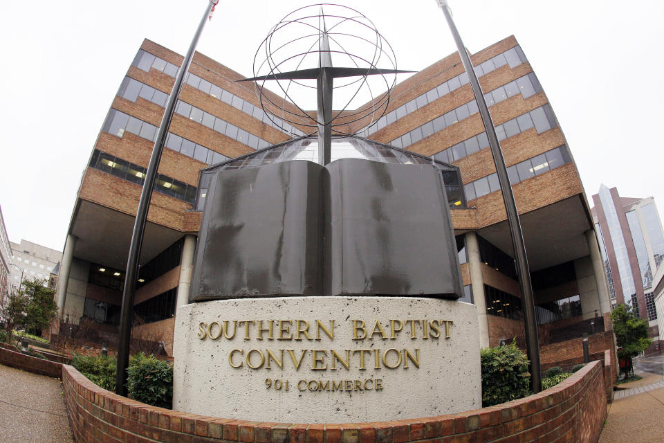 FILE - This Wednesday, Dec. 7, 2011 file photo shows the headquarters of the Southern Baptist Convention in Nashville, Tenn. Divisions over race, politics, gender and LGBTQ issues are roiling America's largest Protestant denomination, the Southern Baptist Convention, ahead of a meeting of its executive committee in late February 2021. (AP Photo/Mark Humphrey)