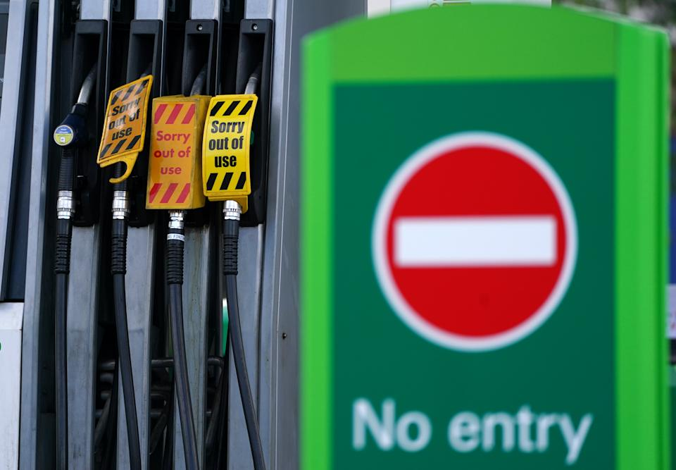 A sign on fuel pumps showing no fuel available at a BP petrol station in Grangemouth. Picture date: Monday September 27, 2021.
