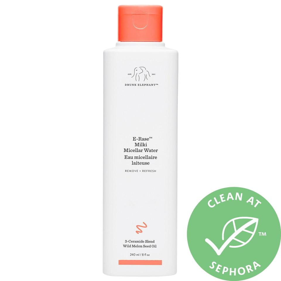 """<p>Whether you're already a fan of micellar water or looking to try one, you can't go wrong with the <span>Drunk Elephant E-Rase Milki Micellar Water</span> ($28). I loving using it as a double-cleansing step to remove makeup before washing my face. It also works great as even just a mid-day refresh. Read its <a href=""""https://www.popsugar.com/beauty/drunk-elephant-e-rase-milki-micellar-water-review-47602692"""" class=""""link rapid-noclick-resp"""" rel=""""nofollow noopener"""" target=""""_blank"""" data-ylk=""""slk:full review here"""">full review here</a>.</p>"""