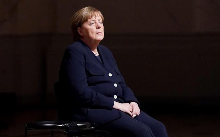 Angela Merkel attends a ceremony for Germany's Covid victims on the weekend - AFP