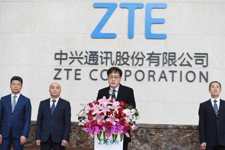ZTE Corp's Chairman Yin Yimin speaks at a news conference at ZTE's headquarters in Shenzhen, Guangdong province, China April 20, 2018. Picture taken April 20, 2018. Chen Wen/CNS via REUTERS