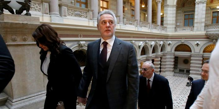 FILE PHOTO: Ukrainian oligarch Dmytro Firtash arrives at court in Vienna, Austria, February 21, 2017. REUTERS/Heinz-Peter Bader/File Photo