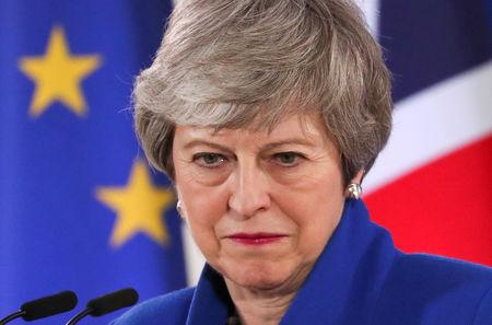 FILE PHOTO: British Prime Minister Theresa May holds a news conference following an extraordinary European Union leaders summit to discuss Brexit, in Brussels, Belgium April 11, 2019.