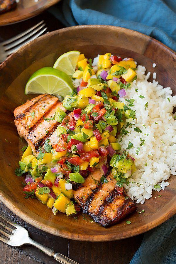 "<p>The coconut rice is a game-changer.</p><p>Get the recipe from <a href=""https://www.cookingclassy.com/grilled-lime-salmon-avocado-mango-salsa-coconut-rice/"" rel=""nofollow noopener"" target=""_blank"" data-ylk=""slk:Cooking Classy"" class=""link rapid-noclick-resp"">Cooking Classy</a>.</p>"