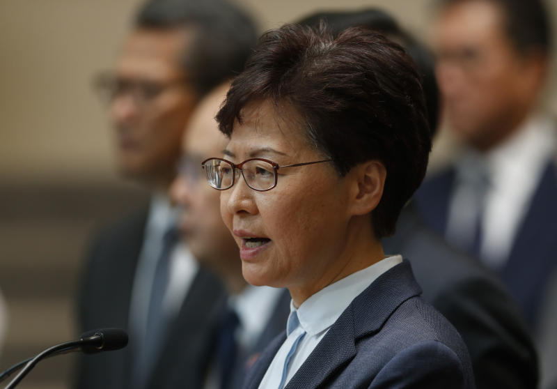 "Hong Kong Chief Executive Carrie Lam speaks to reporters during a press conference in Hong Kong Monday, July 22, 2019. Hong Kong leader Carrie Lam denies that police colluded with the masked assailants who indiscriminately attacked residents in a subway station. Lam called ""unfounded"" allegations that the police were working together with the Yuen Long station assailants, who beat people Sunday evening using steel pipes and wooden poles. (AP Photo/Vincent Yu)"