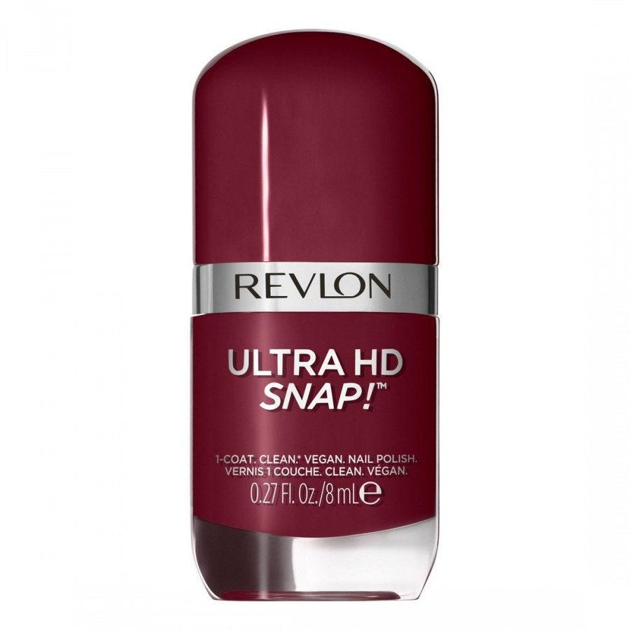 You don't have to compromise on controversial ingredients just because you want a quick-drying manicure, and Revlon Ultra HD Snap! nail polish is proof. The brand says the vegan formula is also <em>20-free</em>. In addition to how fast it dries, this super-affordable polish gets you out the door quicker because only one coat is needed for a rich, opaque finish — even with deep colors like So Shady, seen here.