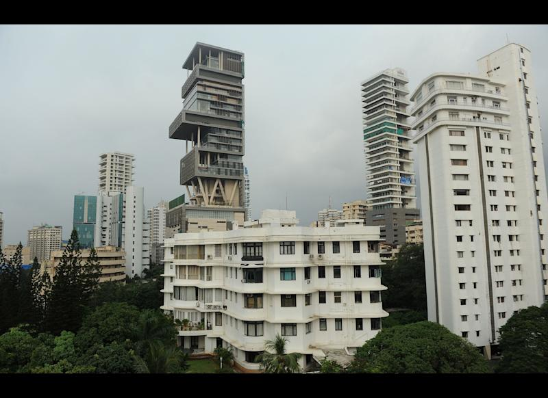 The twenty-seven story Antilia, the newly-built residence of Reliance Industries chairman Mukesh Ambani, is seen in Mumbai on October 19, 2010.