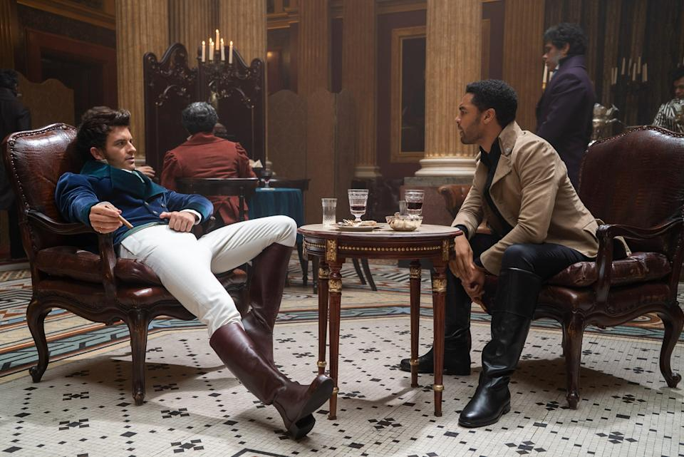 From left: Jonathan Bailey as Anthony Bridgerton and Rege-Jean Page as Simon Basset