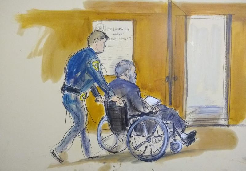 In this courtroom sketch a court officer wheels Harvey Weinstein out of a Manhattan courtroom after his sentencing on Wednesday. Source: AP