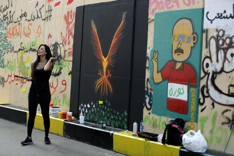 Hayat Nazer's phoenix emerging from a burning forest symbolises the fires that ravaged Lebanon's mountains