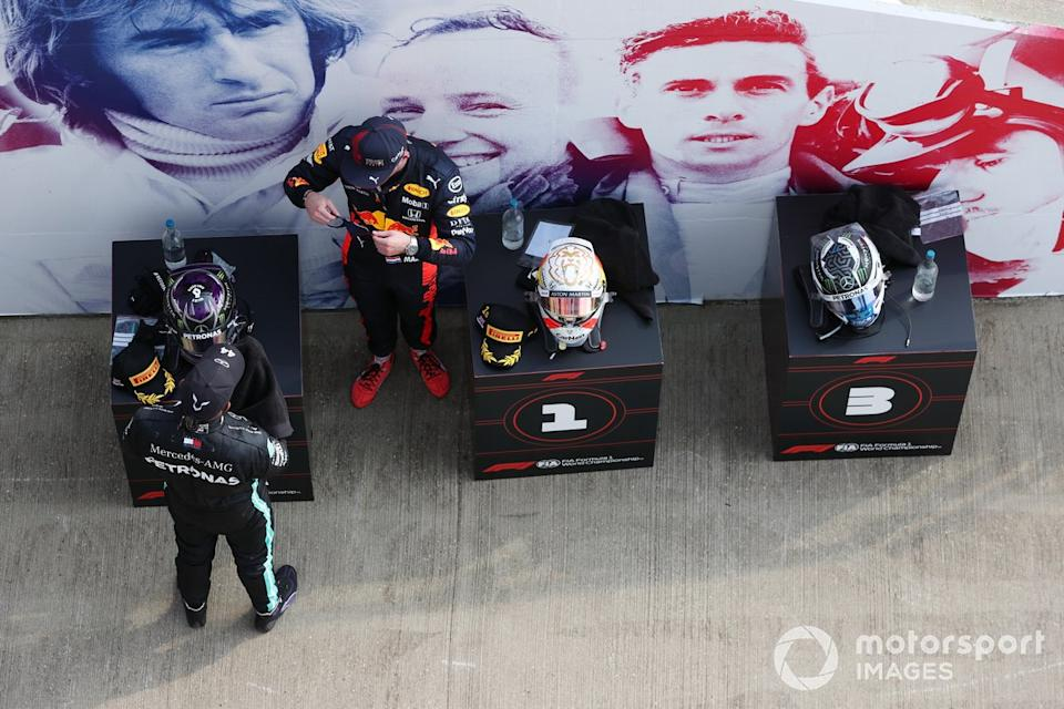 """Lewis Hamilton, Mercedes AMG F1, Max Verstappen, Red Bull Racing<span class=""""copyright"""">Charles Coates / Motorsport Images</span>"""