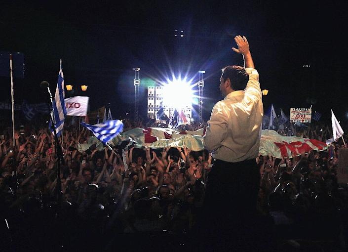 Greek Prime Minister Alexis Tsipras addresses an anti-austerity rally at Syntagma Square in Athens on July 3, 2015 (AFP Photo/Yannis Behrakis)