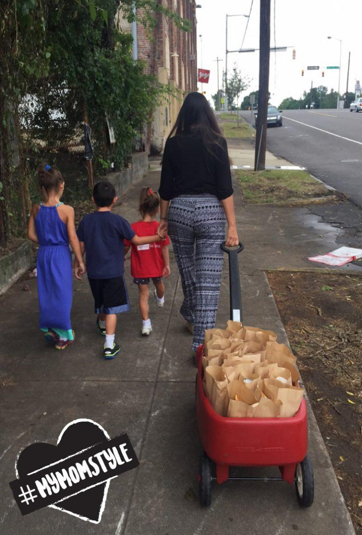 The author and her kids hit the streets of Birmingham. (Photo: Jaime Primak Sullivan)