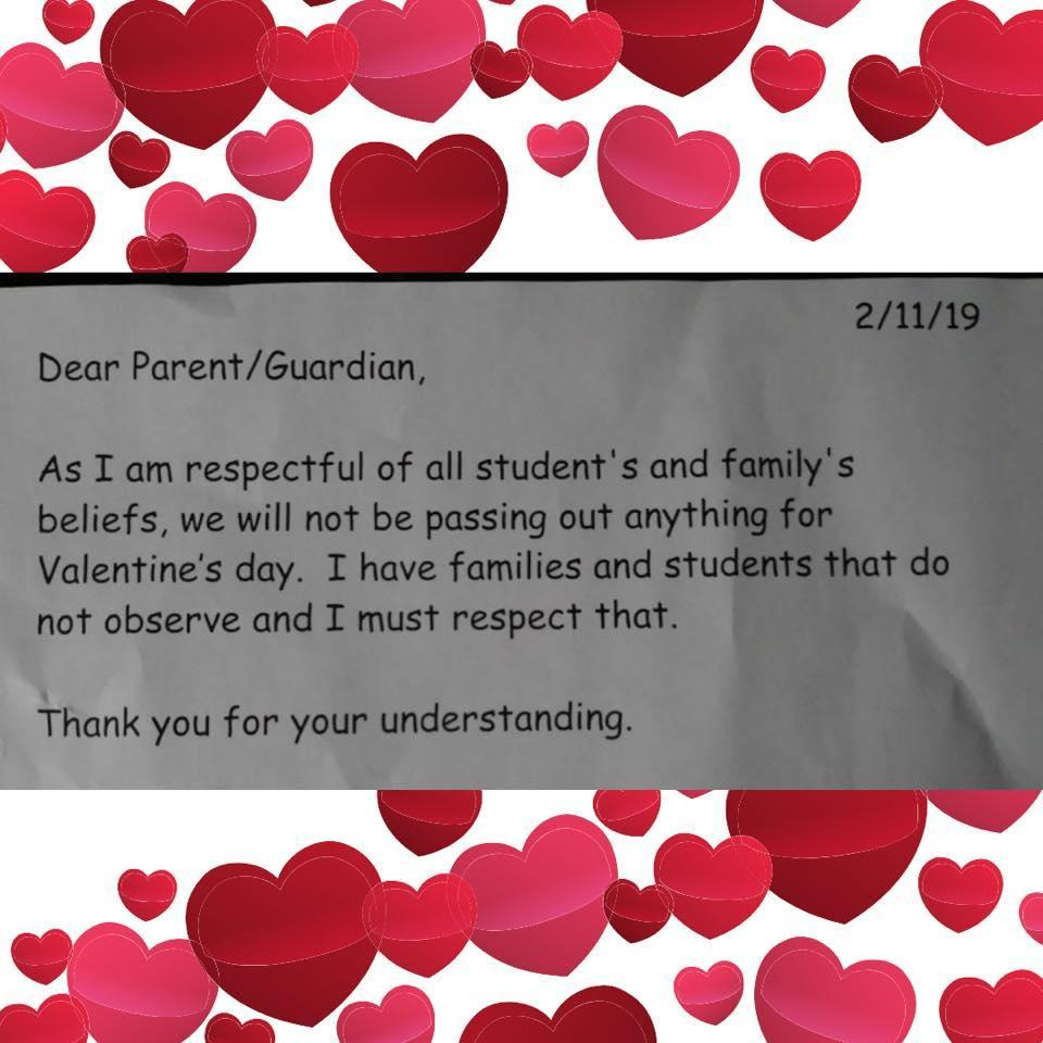 Rhode Island school canceled Valentine's Day, then reversed its policy when parents complained. (Credit: Facebook)