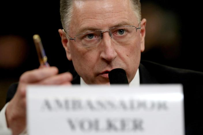 Former State Department special envoy to Ukraine Kurt Volker testifies before the House Intelligence Committee