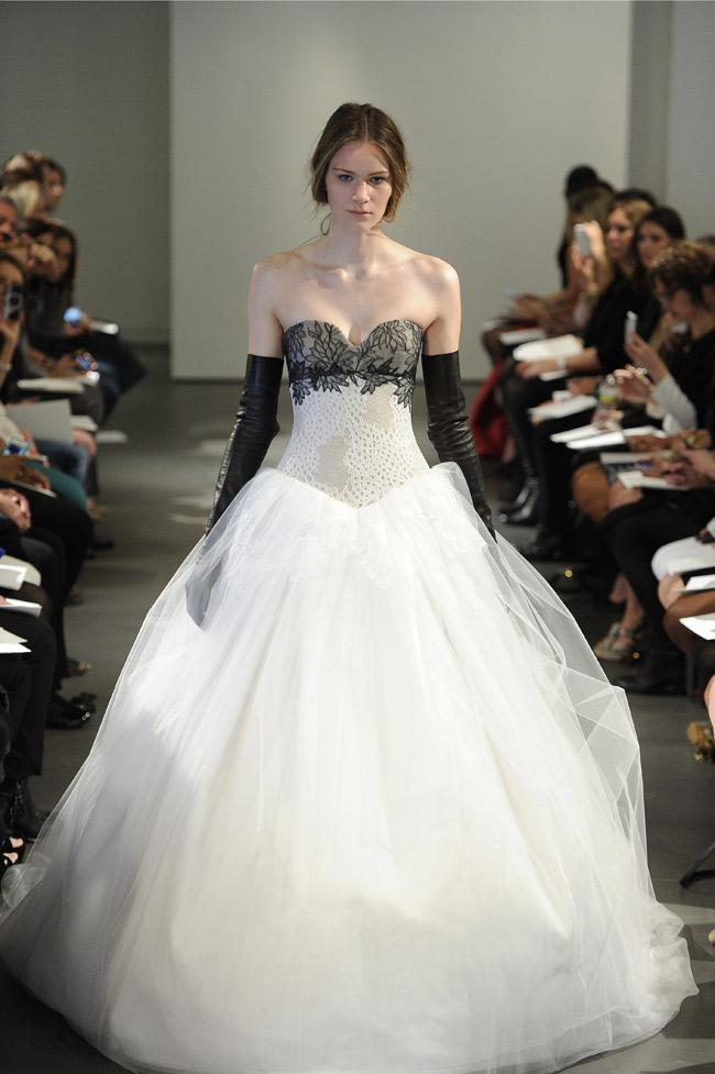 """<div class=""""caption-credit"""">Photo by: MCV Photo / The Knot</div><b>A Black Lace Ball Gown and Leather Gloves</b> <br> Medieval meets motorcycle gang with this castle-worthy ballgown featuring a basque waistline and dramatic lace detail and paired with long leather gloves. As seen at the Vera Wang runway show. <br> <a href=""""http://wedding.theknot.com/bridal-fashion/bridesmaid-dresses/articles/bad-bridesmaid-dress-photos.aspx?cm_mmc=TKInline-_-Yahooshine-_-10%20Outrageous%20New%20Wedding%20Dresses%20and%20Accessories-_-Ugly%20Bridesmaid%20Dresses"""" rel=""""nofollow noopener"""" target=""""_blank"""" data-ylk=""""slk:The ugliest bridesmaid dresses ever!"""" class=""""link rapid-noclick-resp""""><b>The ugliest bridesmaid dresses ever!</b></a>"""