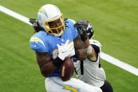 Los Angeles Chargers tight end Virgil Green catches a touchdown pass against the Jacksonville Jaguars during the second half of an NFL football game Sunday, Oct. 25, 2020, in Inglewood, Calif. (AP Photo/Alex Gallardo )