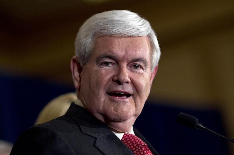 Republican presidential candidate, former House Speaker Newt Gingrich speaks during a Super Tuesday rally on Tuesday, March 6, 2012 in Atlanta. (AP Photo/Evan Vucci)