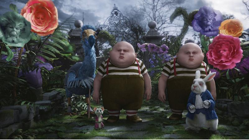 Matt Lucas (twice) in 'Alice in Wonderland'. (Credit: Disney)