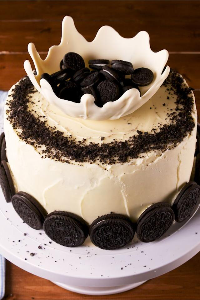 """<p>This will blow <em>anyone</em> away.</p><p>Get the recipe from <a href=""""https://www.delish.com/cooking/recipe-ideas/a28848034/milk-and-cookies-cake-recipe/"""" target=""""_blank"""">Delish.</a></p>"""