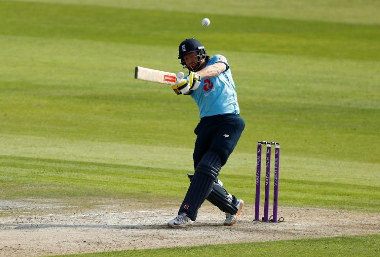 Counter-attack - England's Jonny Bairstow hits a six during the third one-day international against Australia at Old Trafford