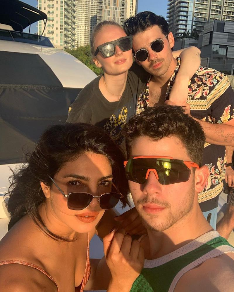 Family: Priyanka Chopra and Nick Jonas with Sophie Turner and Joe (@priyankachopra/Instagram)