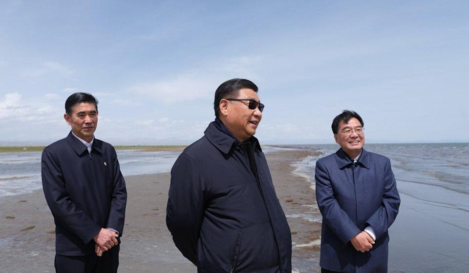 Xi visited Qinghai Lake and delivered a message about the importance of protecting the environment. Photo: Xinhua