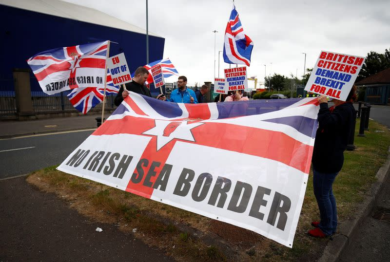 FILE PHOTO: Loyalists protest against the Northern Ireland Brexit protocol at Belfast Harbour Estate