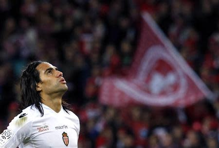 AS Monaco's Falcao reacts at the end of his match against Lille during his French Ligue 1 soccer match at the Pierre Mauroy Stadium in Villeneuve d'Ascq