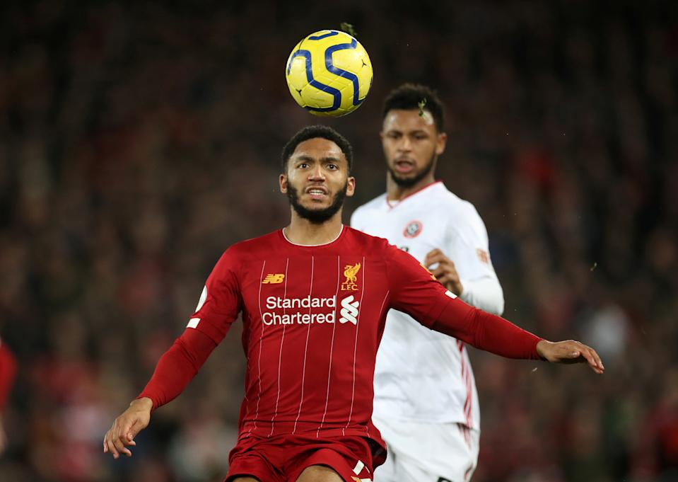 Liverpool's Joe Gomez in action against Sheffield United.