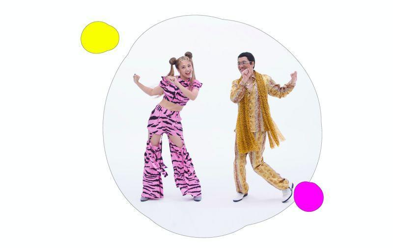 """<p>Gui Gui (left) and Pikotaro dance in their new song """"Gugoo Game."""" (Courtesy of </p>"""