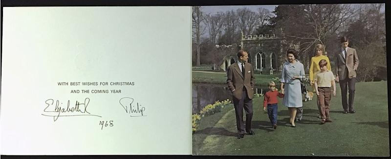 Prince Philip, Prince Edward, Queen Elizabeth, Prince Andrew, Princess Anne and Prince Charles in 1968's Christmas card | Rowleys/BNPS