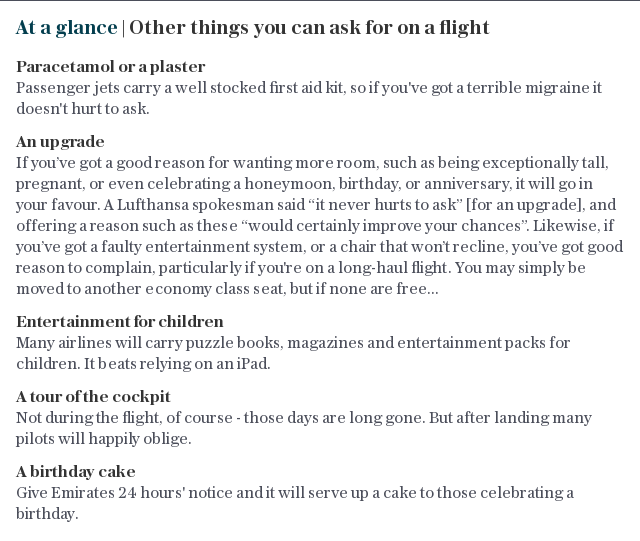 At a glance | Other things you can ask for on a flight