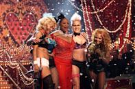 "Girl power! In 2002, Christina Aguilera, Pink, Mya, Lil' Kim and Missy Elliott sang their updated version of Patti LaBelle's ""Lady Marmalade,"" with the music icon herself. The over-the-top, fun performance was the highlight of the night. The cover, which was recorded for the movie <em>Moulin Rouge</em>, won later in the show for best pop collaboration with vocals."