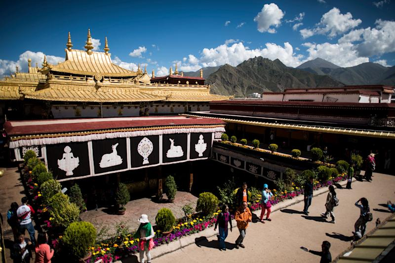 The Jokhang temple in Lhasa is one of Tibetan Buddhism's most hallowed sites.