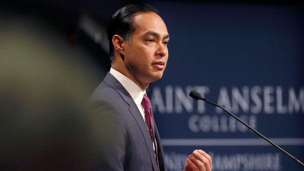 PHOTO: Julian Castro, former U.S. Secretary of Housing and Urban Development and candidate for the 2020 Democratic presidential nomination, speaks at Saint Anselm College, Jan. 16, 2019, in Manchester, N.H. (Mary Schwalm/AP)