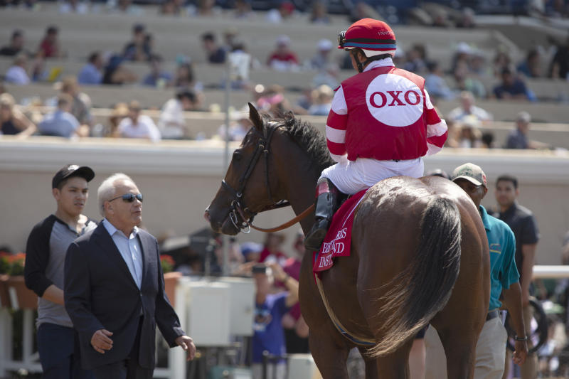 SALONA BEACH, CALIFORNIA- AUGUST 11: Instagrand, with Drayden Van Dyke up, wins the G2 Best Pal Stakes for trainer Jerry Hollendorfer and owner OXO Equine, Del Mar Thoroughbred Club, CA on August 11, 2018 in Salona Beach, California (Photo by Horsephotos/Getty Images)