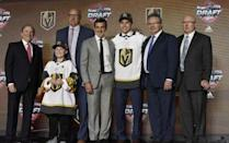 June 23, 2017; Chicago, IL, USA; Nick Suzuki poses for photos after being selected as the number thirteen overall pick to the Vegas Golden Knights in the first round of the 2017 NHL Draft at the United Center. Mandatory Credit: David Banks-USA TODAY Sports
