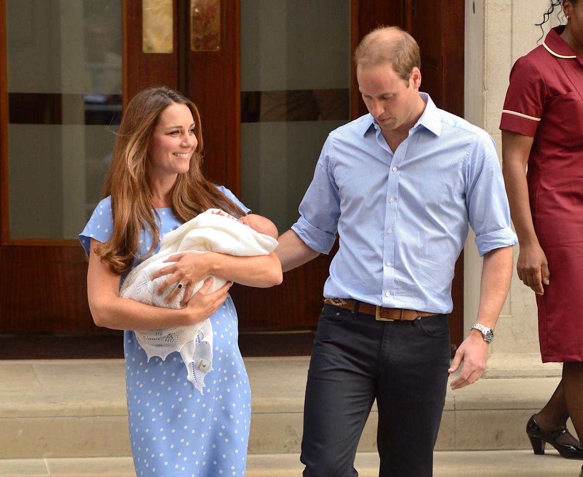 The Duke and Duchess of Cambridge leave the Lindo Wing of St Mary's Hospital in London, with their newborn son.