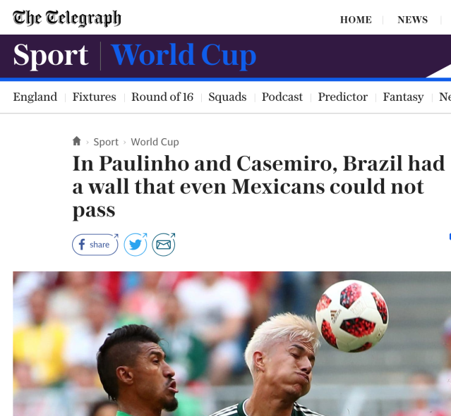 UK outlet the Telegraph ran a headline about Brazil building a wall to stop Mexico.