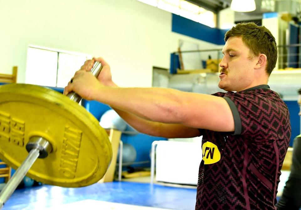 Jasper Wiese improves his strength in a training session in Cape Town.