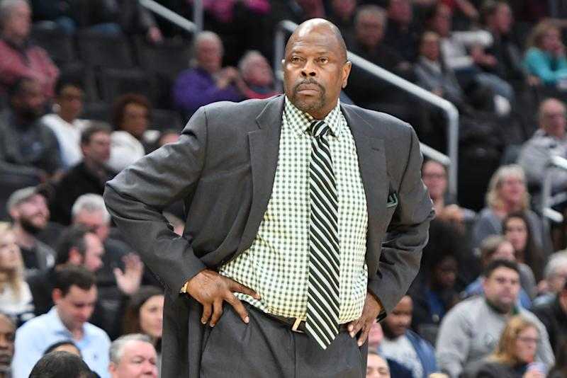 Georgetown coach Patrick Ewing announced on Monday night that Hoyas point guard James Akinjo and forward Josh LeBlanc are no longer with the program. (Mitchell Layton/Getty Images)