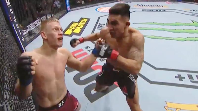 Seen here Punahele Soriano wins on his UFC debut with a vicious first round KO.