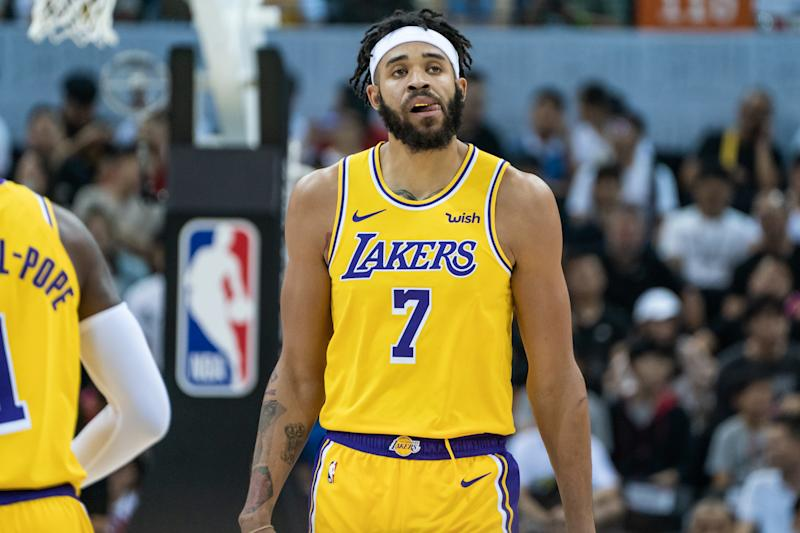 JaVale McGee's 2019-20 blooper reel got off to an early start. (Ivan Shum/Getty)