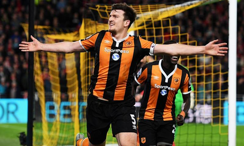 Harry Maguire of Hull City celebrates scoring his team's fourth goal against Middlesbrough.