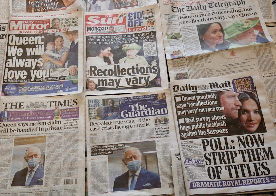 LONDON, UNITED KINGDOM - MARCH 10: An arrangement of UK daily newspapers shows front page headlines reporting Queen Elizabeth's respond over the interview given by the Duchess of Sussex, Meghan Markle and her husband Britain's Prince Harry, Duke of Sussex, to media mogul Oprah Winfrey about their experiences with Buckingham Palace, in London, United Kingdom on March 10, 2021. (Photo by Hasan Esen/Anadolu Agency via Getty Images)