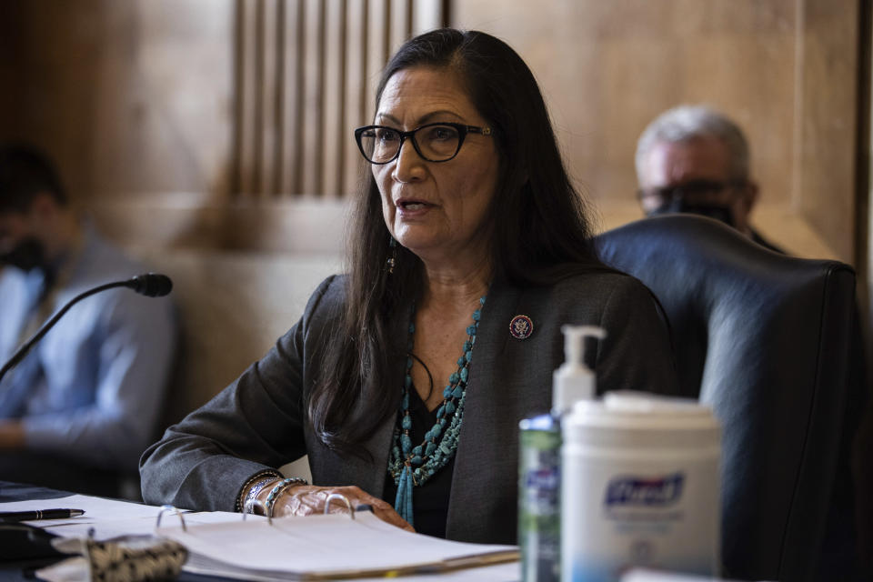 Rep. Deb Haaland, D-N.M., speaks during a Senate Committee on Energy and Natural Resources hearing on her nomination to be Interior Secretary, Tuesday, Feb. 23, 2021 on Capitol Hill in Washington. (Graeme Jennings/Pool via AP)