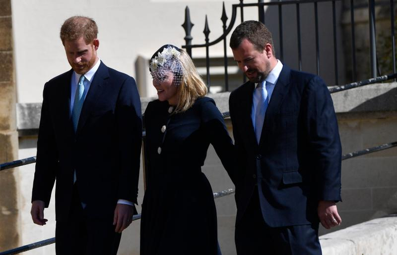 Prince Harry, Duke of Sussex, Autumn Phillips, and Peter Phillips (EPA)