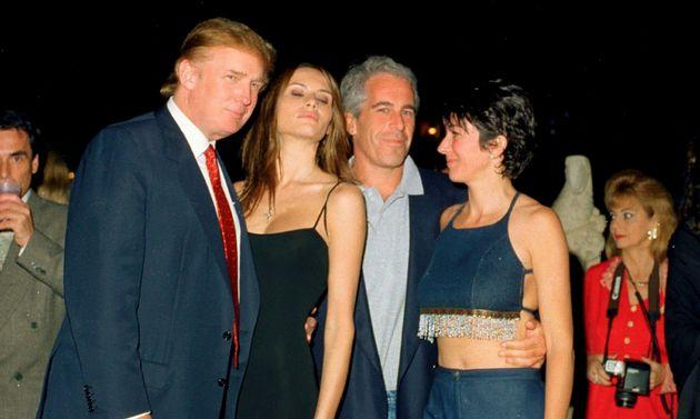 From left, Trump and his future wife, former model Melania Knauss, financier (and future convicted sex offender) Jeffrey Epstein, and British socialite Ghislaine Maxwell pose together at the Mar-a-Lago club in February 12, 2000.